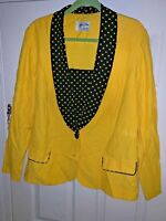 Vintage Jeffrey & Dara Yellow Canary Toucan Bird Polka Dot Womens Jacket Sz L