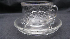Antique EAPG Pattern Glass Stippled Leaf & Grape Childrens Cup and Saucer, mint.