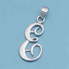 Alphabet Initial Pendant Sterling Silver 925 Rhodium Plated Jewelry Letter E