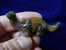 (Y-Din-Br-557) Brown Apatosaurus dinosaur Brontosaurus carving Figurine Gemstone