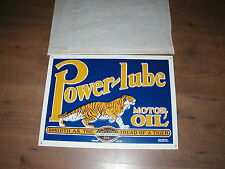 Vintage Unused Power-Lube Motor Oil embossed tin sign with tiger graphics
