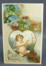 Antique Winsch Postcard Valentines Day Be My Spider Web Cupid Shooting Arrow