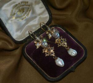 18K PEARL DIAMOND SAPPHIRE EARRINGS BAROQUE VICTORIAN VINTAGE HUGE FINE 1800s