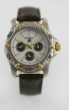 Fossil Watch Mens Brown Leather Stainless Silver Gold Date 24hr 50m Quartz