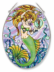Amia Oval Suncatcher with Mermaid 5809 Hand Painted Glass, 6-1/2-Inch by 9-In