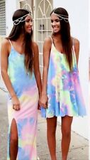 Rainbow Tie Die Fluro Dress Long Top Hippy Boho Festival Cyber Rave Punk Grunge