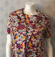 Vintage 1960s Floral Purple, Yellow, White and Green Floral Shift Dress & Coat