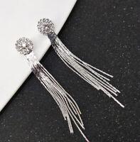Dangle Clip Tassle Bridal Crystal Clip-on on Drop Silver Earrings Ladies Women