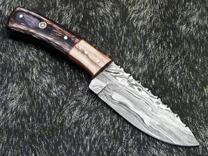 """DAMASCUS STEEL 8.0"""" HANDMADE FULL TANG SKINNING KNIFE - HARD WOOD - PS-384"""