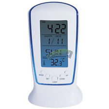 LED Digital Blue Backlight Temperature Calendar Snooze Alarm Clock Night Light