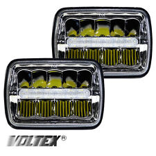 "1985-2001 JEEP 5 X 7"" CHEROKEE XJ LED HEADLIGHTS CLEAR CHROME PAIR"