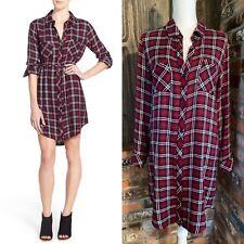 RAILS Small Shirt Dress Nadine Plaid Tunic Flannel Black Red - Missing Tie