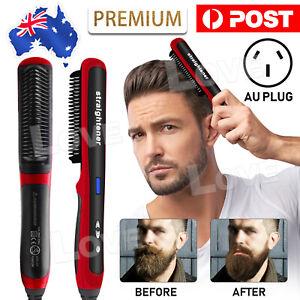 Men Heated Beard Straightener Brush Multifunctional Hair Comb Curling Show Cap