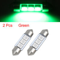 2 Pcs Green 36mm 5050 SMD 6 LED 0.4W Festoon Dome Car Light Interior Lamp Bulb