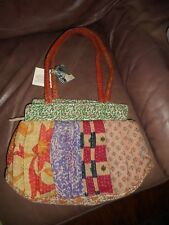 Kantha Stitch Sari Bag Tote Shopper Beach Bag Cotton, Ten Thousand Villages NEW