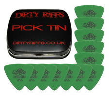 12 x Dunlop Tortex Triangle Guitar Picks - 0.88mm Green In A Pick Tin
