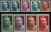 FRANCE 1945 Marianne de Gandon  YT n° 725 à 733  neufs ★★  luxe / MNH (B)