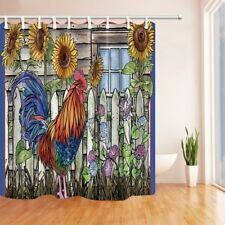 Farm Style Shower Curtain chicken and sunflower Bathroom Waterproof Fabric 70""