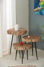 Mina Solid Acacia Wood Side End Table (Large Table Only:35x34x54cm)-ST25L