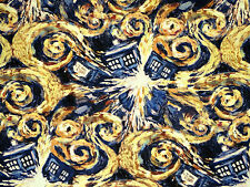 FAT QUARTER  DOCTOR WHO FABRIC  EXPLODING TARDIS  VAN GOGH SPRINGS CREATIVE  FQ