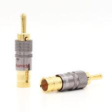 4x Nakamichi 24k Audio Banana Speaker Plug Screw Lock 10mm Cable Wire Connector
