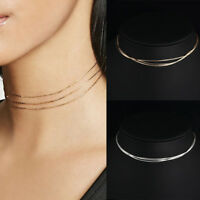 3Layer Fashion Women Silver Gold Neck Chain Collar Choker Bib Necklace Jewelry T