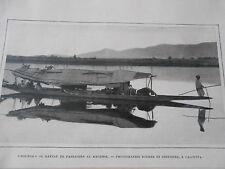 Dounga ou Bateau de passagers au Kachmir Image Print 1905