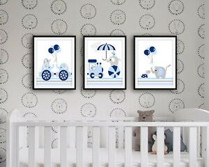 Train Nursery Wall Art Prints - Baby Boy - Set of 3 Pictures