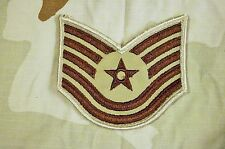 Military Patch Pair (2 ea) USAF Technical Sergeant Rank Desert Tan Color Sew On