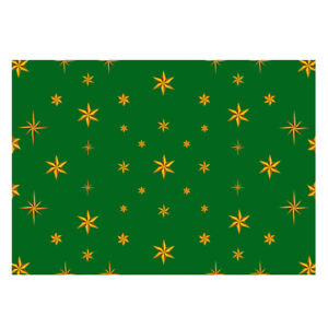 Unique High Quality Christmas Gold Star Wrapping Paper (Green)-Size A3 -GP132
