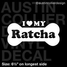 "6.5"" RATCHA vinyl decal car window laptop sticker - dog breed rescue"
