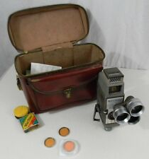 Vintage Bell & Howell 252 8 mm Movie Camera 3 Filters Leather Case Parts Only