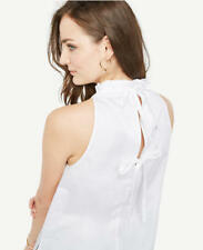 Ann Taylor - SMALL (4-6) White Ruffle Neck Bow Back Shell $59.50 NWT