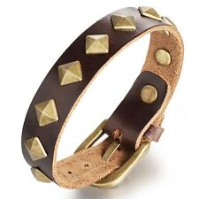 New Punk Rock Gold Rivet Leather Bangle