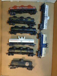 HO Scale Lot of 8 Tank Cars-Tempo, Varney, Lionel-Deep Rock, Kopper's-Parts