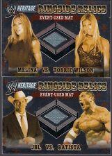 WWF HERITAGE TOPPS CHROME 2006 RINGSIDE RELICS 2 CARD LOT TORRIE WILSON BATISTA+
