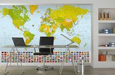GIGANTE Carta Da Parati 366x254cm Mappa Del Mondo Murale parete per casa ufficio