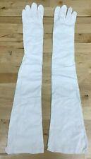 "VTG Saks Fifth Avenue 21""Long French White Kidskin Leather Opera Gloves w/ Bag"