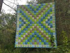 READY TO SHIP QUILT Patchwork Quilt, handmade. green, blue, light blue, beige