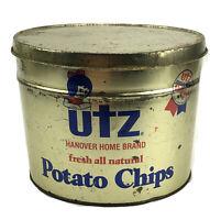 Vintage Utz POTATO CHIP Tin Metal Can USA Grocery Advertising 1 Pound Rare
