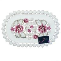 Embroidered Flower Placemat Coaster Table Fabric Cutwork Doily Beige Table Mat