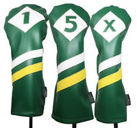 Majek Retro Golf 1 5 X Driver & Woods Headcover Green White Yellow Leather Style
