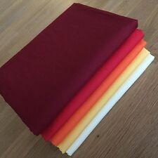 RED YELLOW Fat Quarter Fabric Bundle 100% cotton basic solid plain warm colours