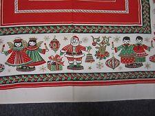 "VINTAGE CHRISTMAS COTTON TABLECLOTH w SANTA & REINDEER ANGELS & MORE 46"" X 53"""