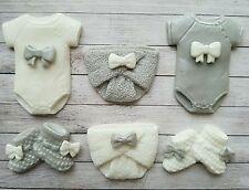 6 Grey & white,christening,baby shower edible cupcake toppers