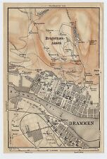 1914 ORIGINAL ANTIQUE CITY MAP OF DRAMMEN / NORWAY