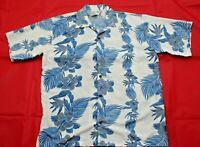 Makani Mens Size Medium White Blue Floral Hawaiian Button Front Aloha Shirt