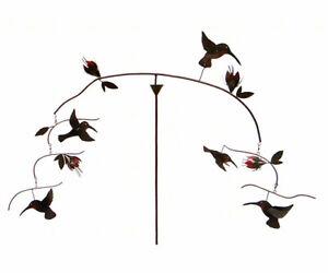 BALANCING HUMMINGBIRDS GARDEN STAKE OR HANGING MOBILE - KINETIC SCULPTURE