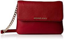 NWT Michael Kors Women's Bedford Leather Double Gusset Crossbody Bag Cherry