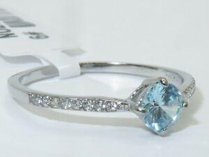Blue topaz ring .50ct half carat cz stainless steel elegant accents dress 019